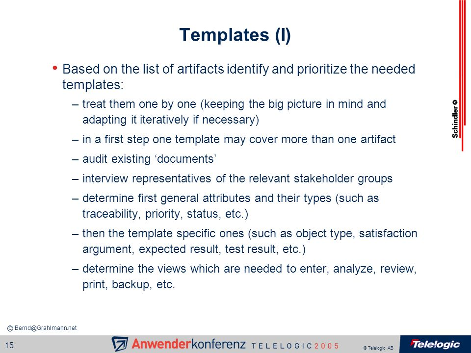 Templates (I) Based on the list of artifacts identify and prioritize the needed templates: