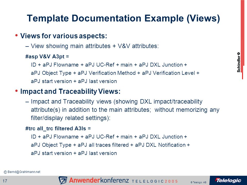 Template Documentation Example (Views)