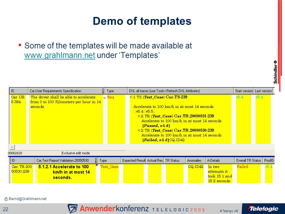 Demo of templates Some of the templates will be made available at www.grahlmann.net under 'Templates'