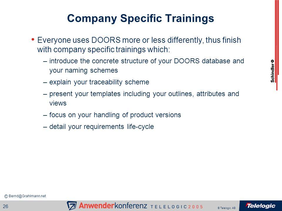Company Specific Trainings