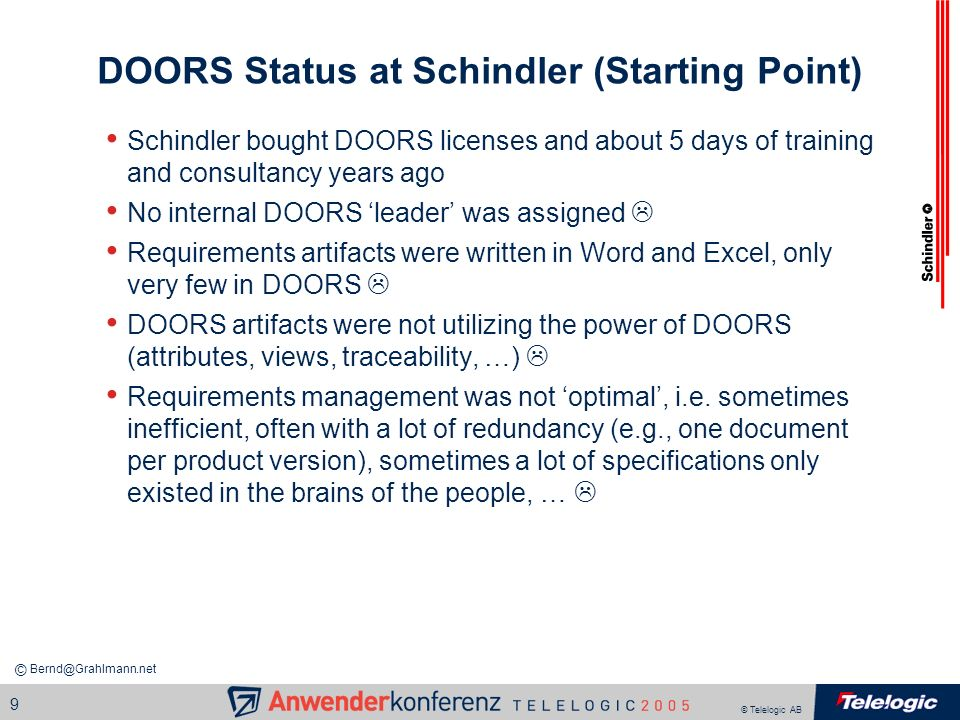 DOORS Status at Schindler (Starting Point)