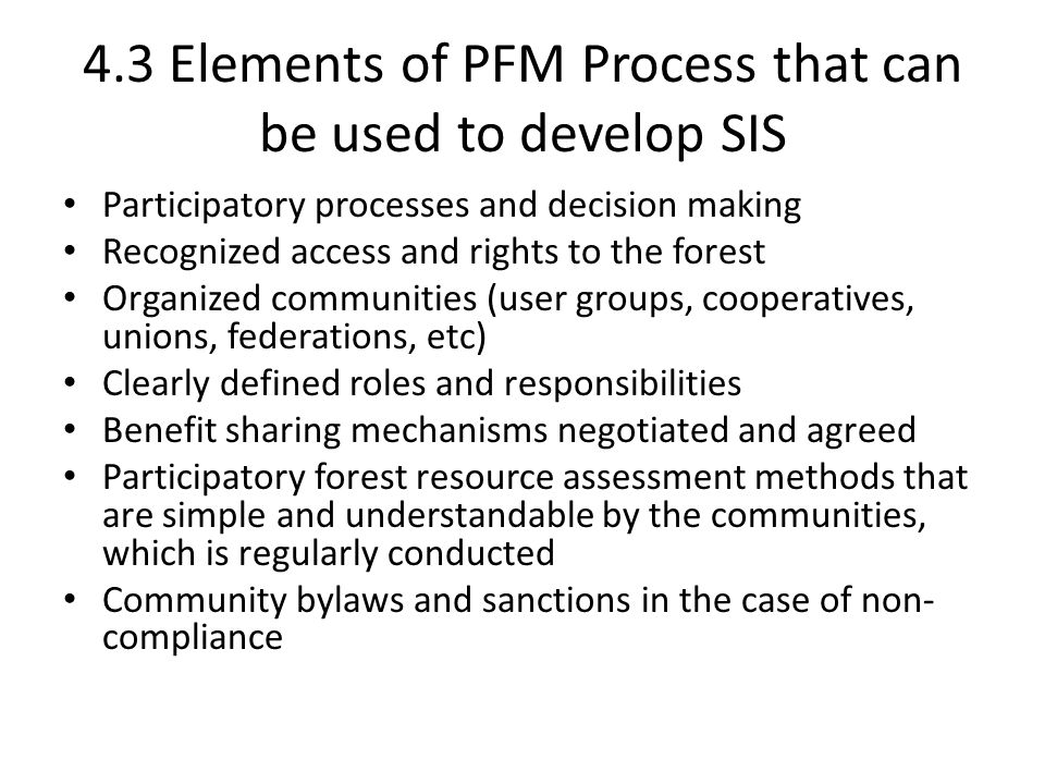 4.3 Elements of PFM Process that can be used to develop SIS
