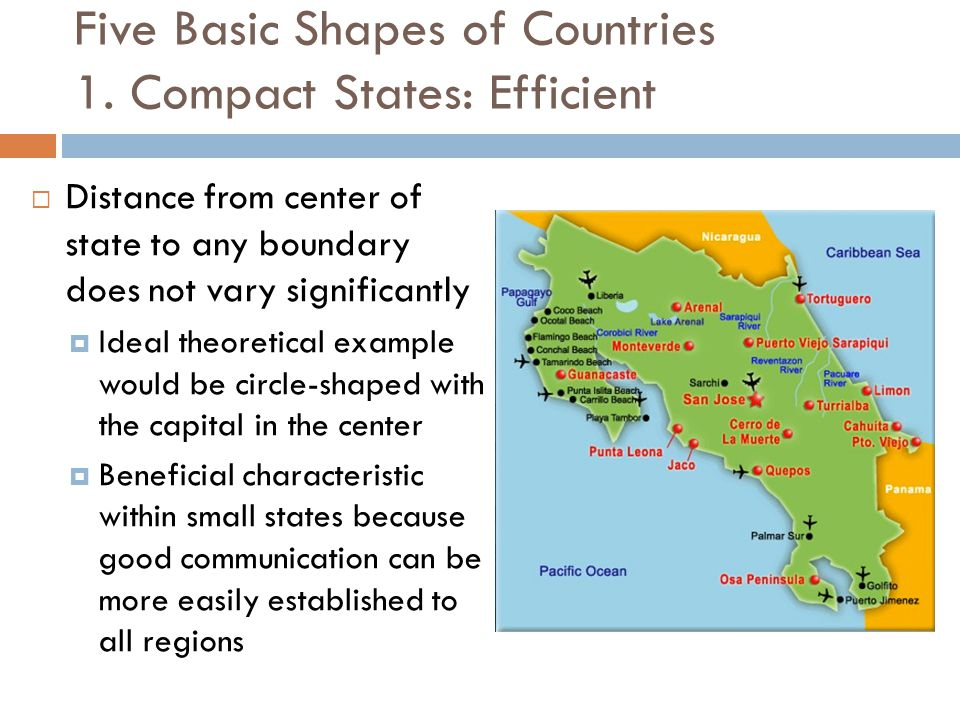 Five Basic Shapes of Countries 1. Compact States: Efficient