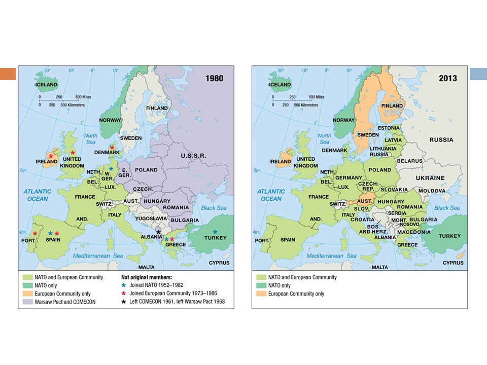 EUROPE MILITARY AND ECONOMIC ALLIANCES (left) During the Cold War