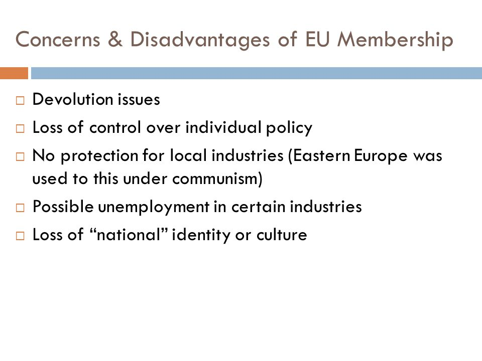 Concerns & Disadvantages of EU Membership