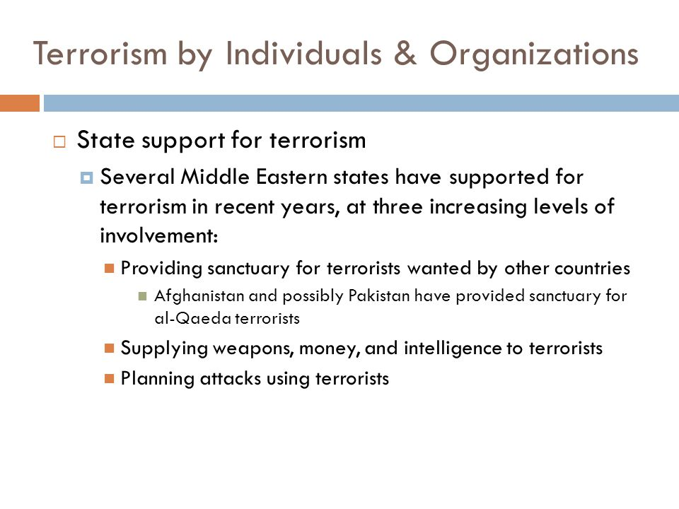 Terrorism by Individuals & Organizations