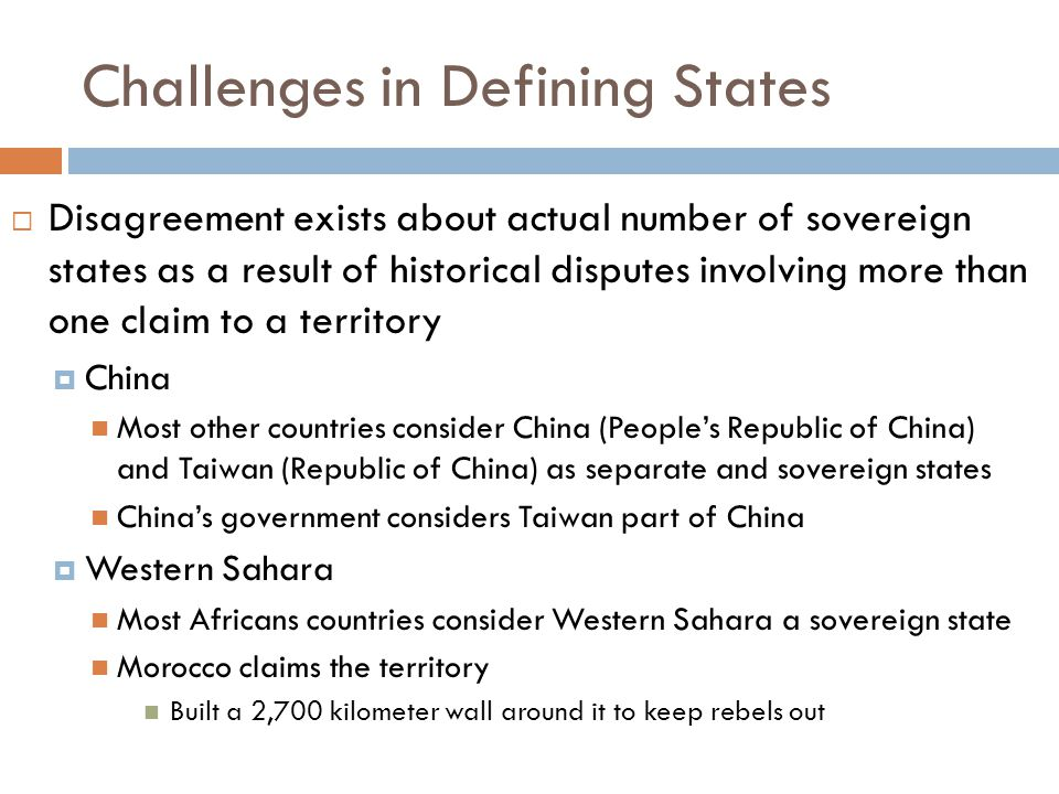 Challenges in Defining States