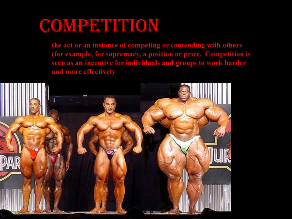 COMPETITION the act or an instance of competing or contending with others. (for example, for supremacy, a position or prize. Competition is.