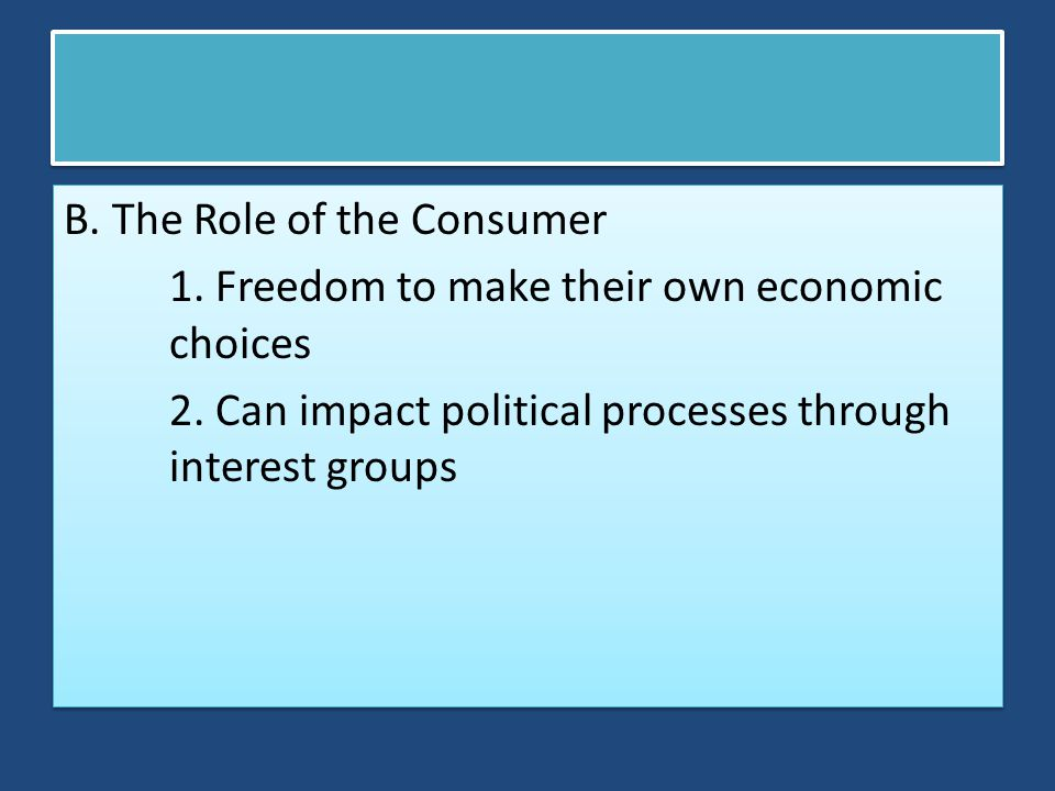 B. The Role of the Consumer 1