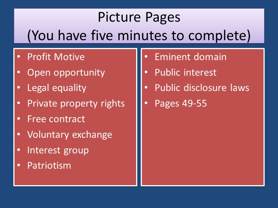 Picture Pages (You have five minutes to complete)