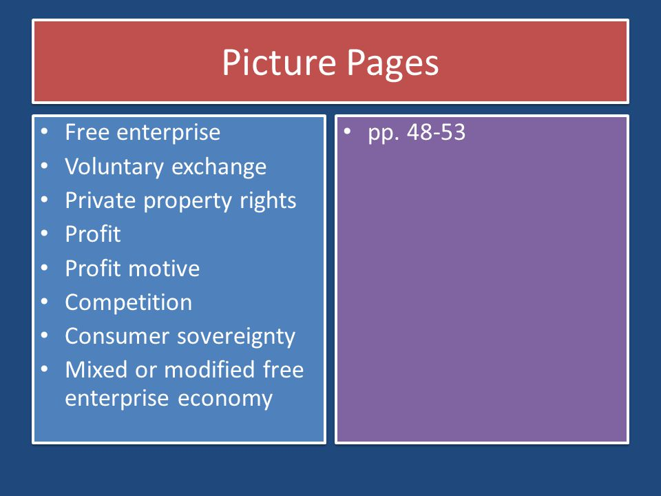 Picture Pages Free enterprise Voluntary exchange
