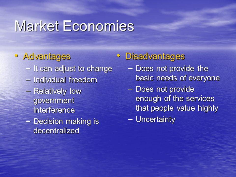 Market Economies Advantages Disadvantages It can adjust to change
