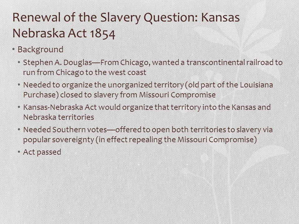 Renewal of the Slavery Question: Kansas Nebraska Act 1854