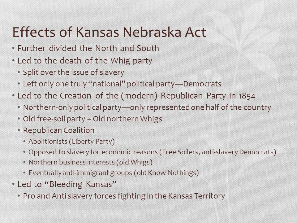 Effects of Kansas Nebraska Act