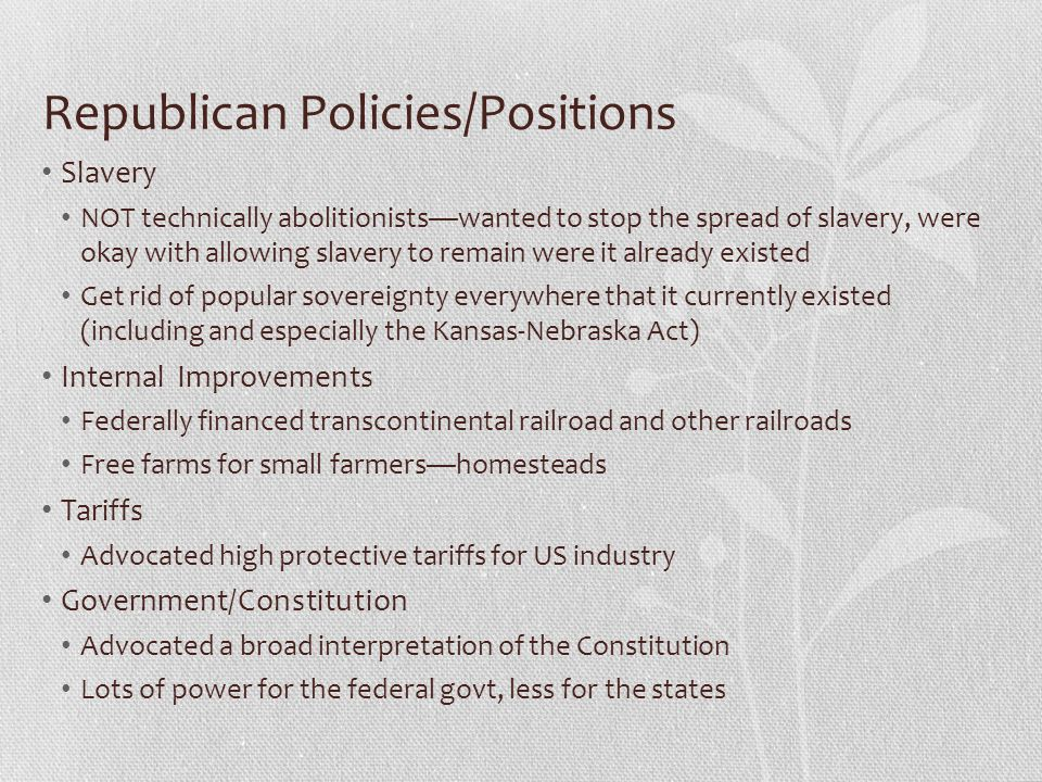Republican Policies/Positions