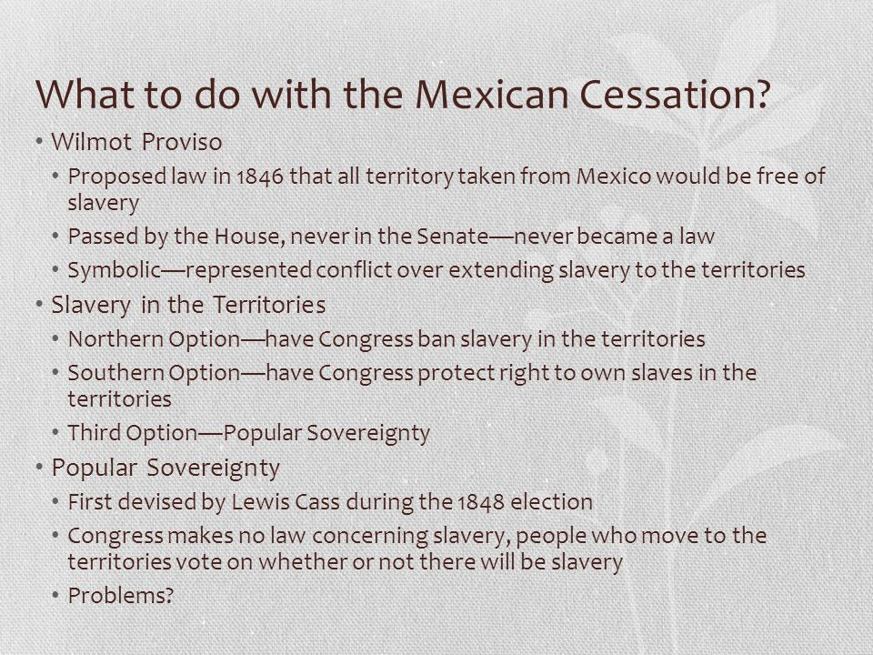 What to do with the Mexican Cessation