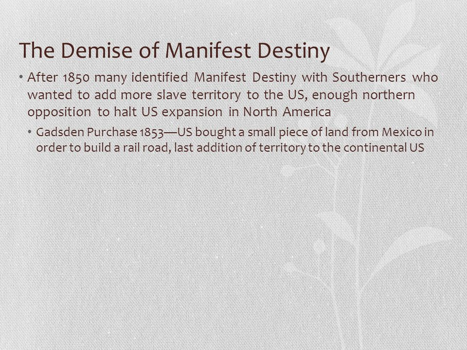 The Demise of Manifest Destiny
