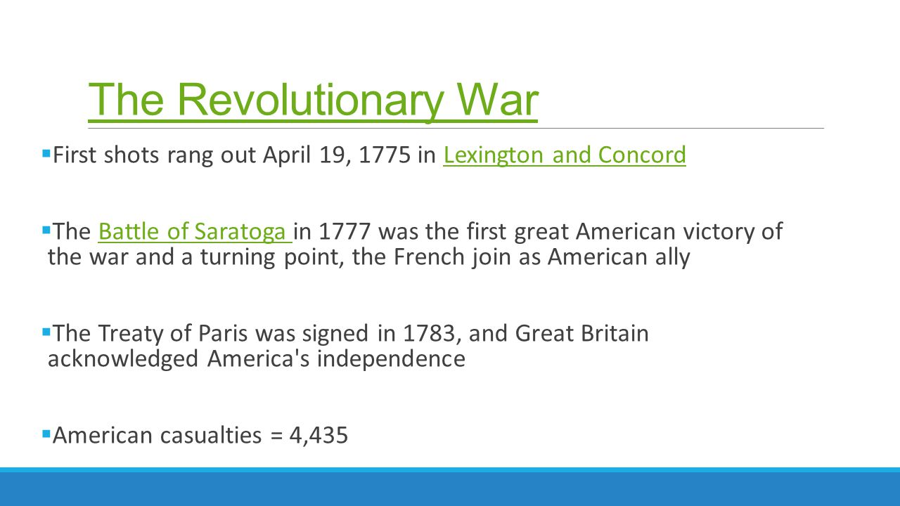 The Revolutionary War First shots rang out April 19, 1775 in Lexington and Concord.