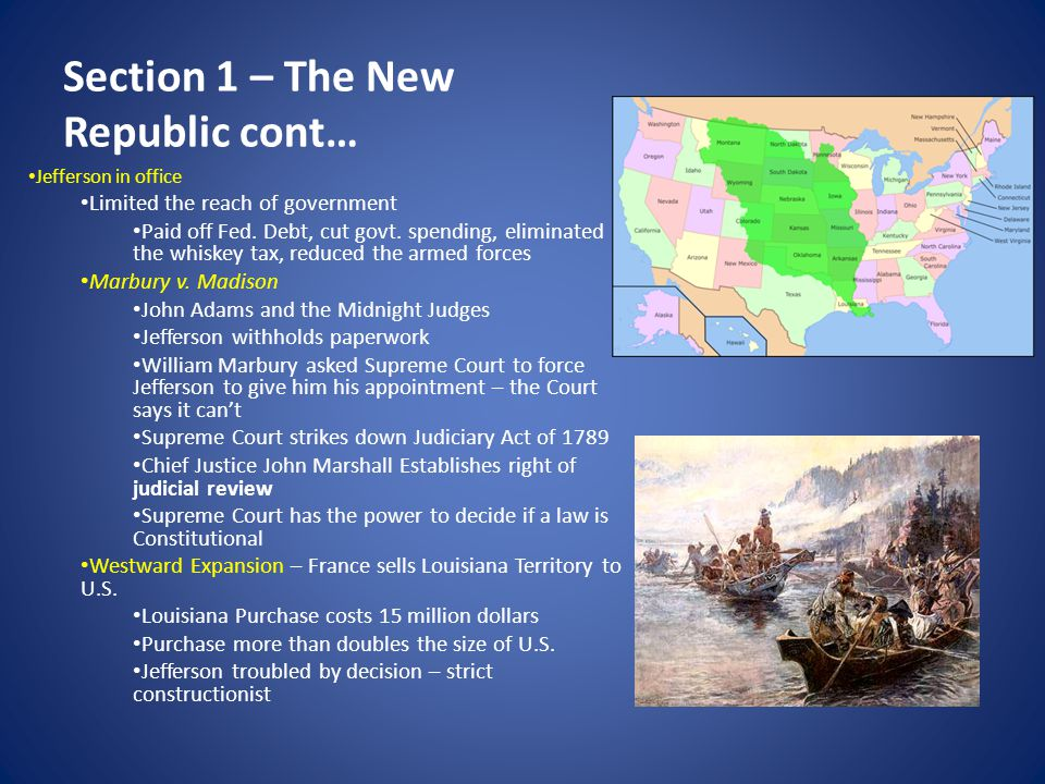 Section 1 – The New Republic cont…