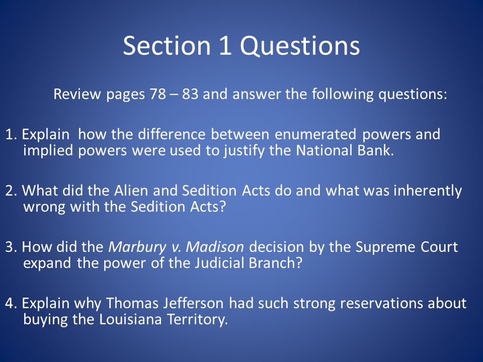 Section 1 Questions Review pages 78 – 83 and answer the following questions: