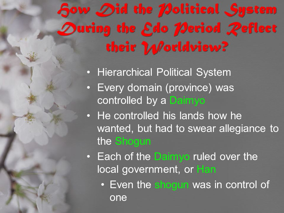 How Did the Political System During the Edo Period Reflect their Worldview