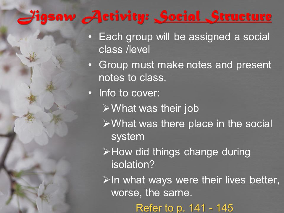 Jigsaw Activity: Social Structure