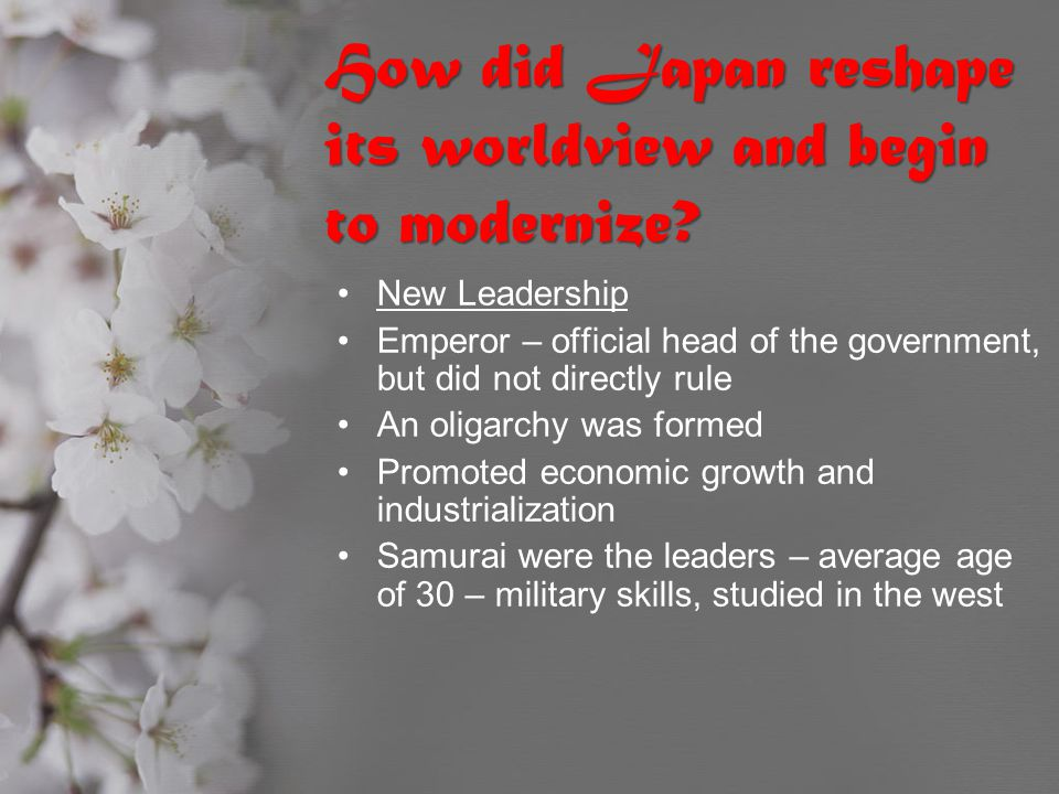 How did Japan reshape its worldview and begin to modernize