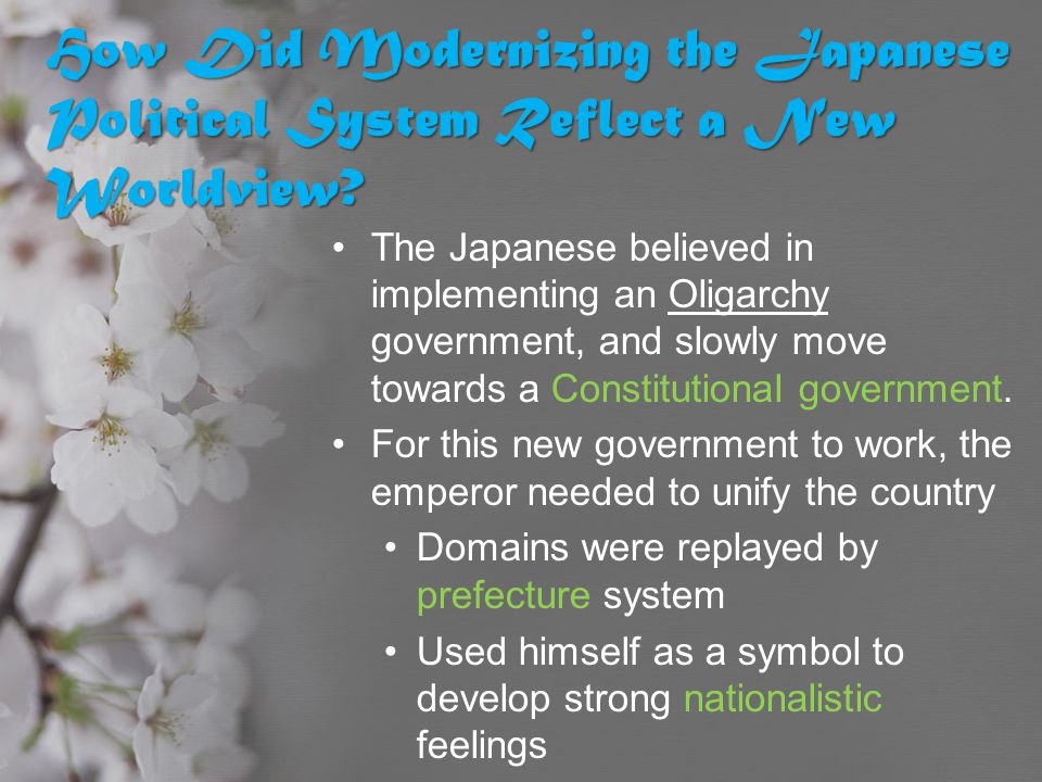 How Did Modernizing the Japanese Political System Reflect a New Worldview