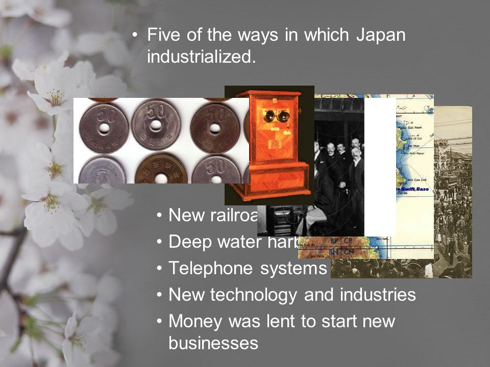 Five of the ways in which Japan industrialized.