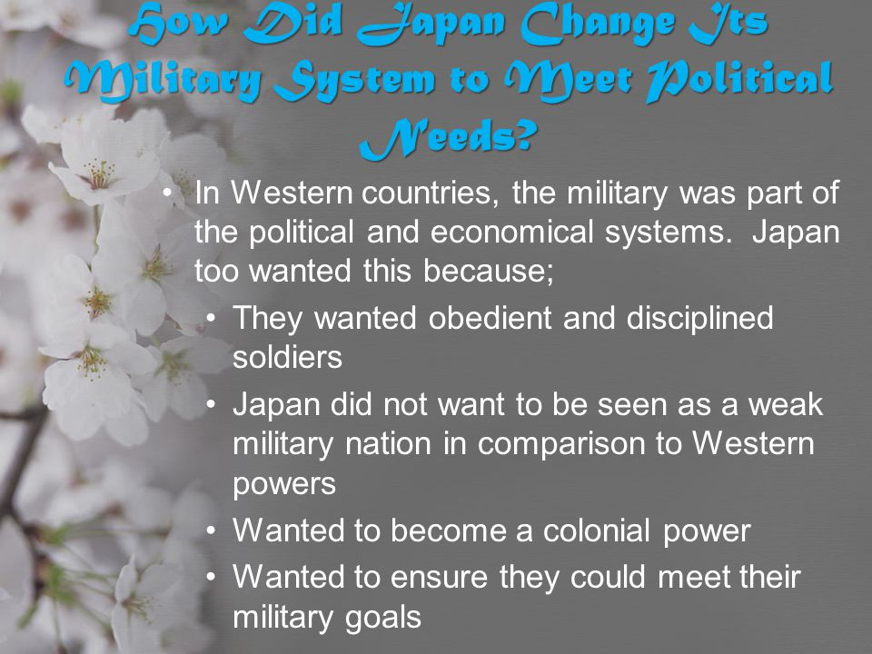How Did Japan Change Its Military System to Meet Political Needs