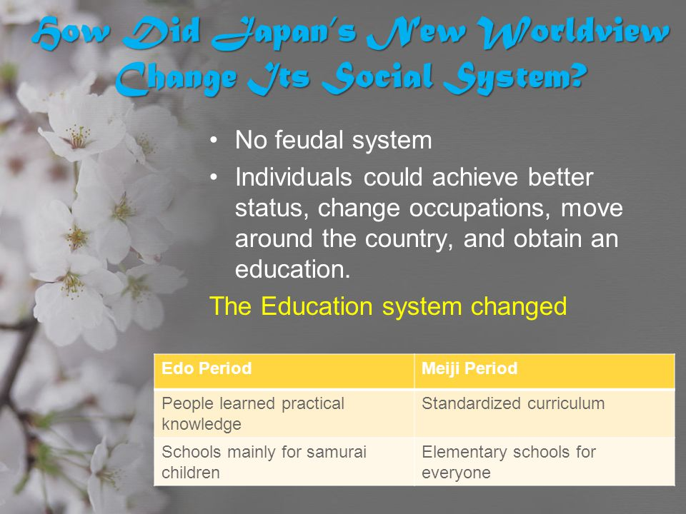 How Did Japan's New Worldview Change Its Social System