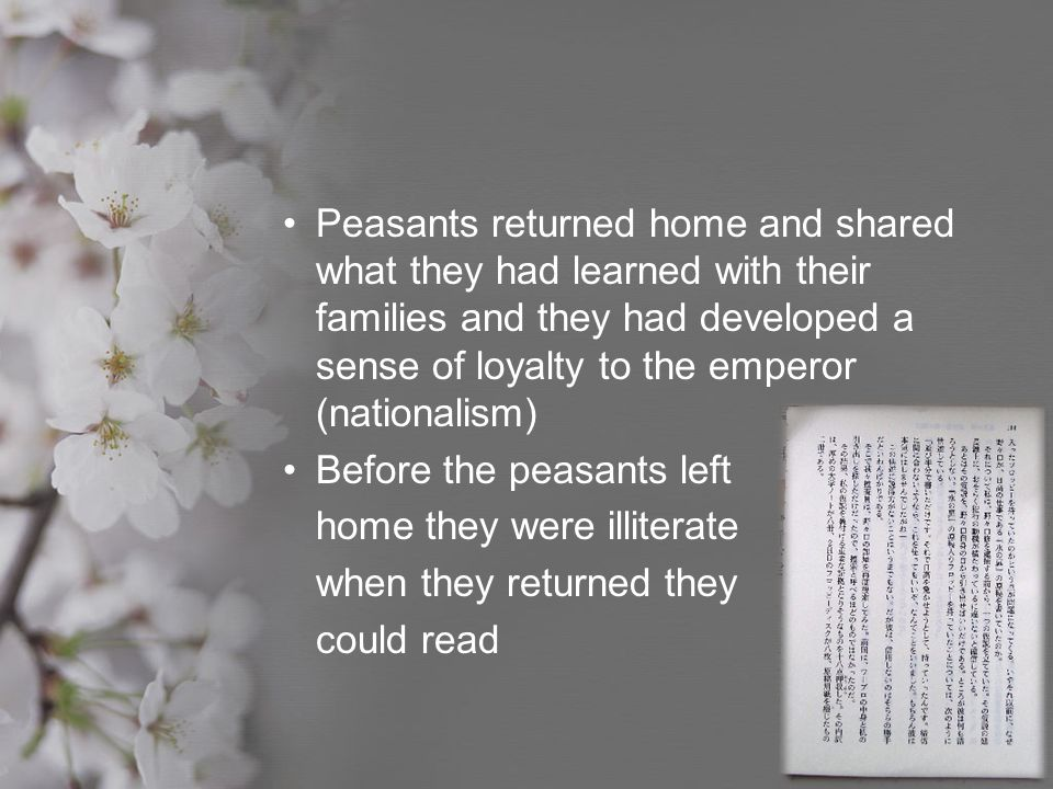 Peasants returned home and shared what they had learned with their families and they had developed a sense of loyalty to the emperor (nationalism)