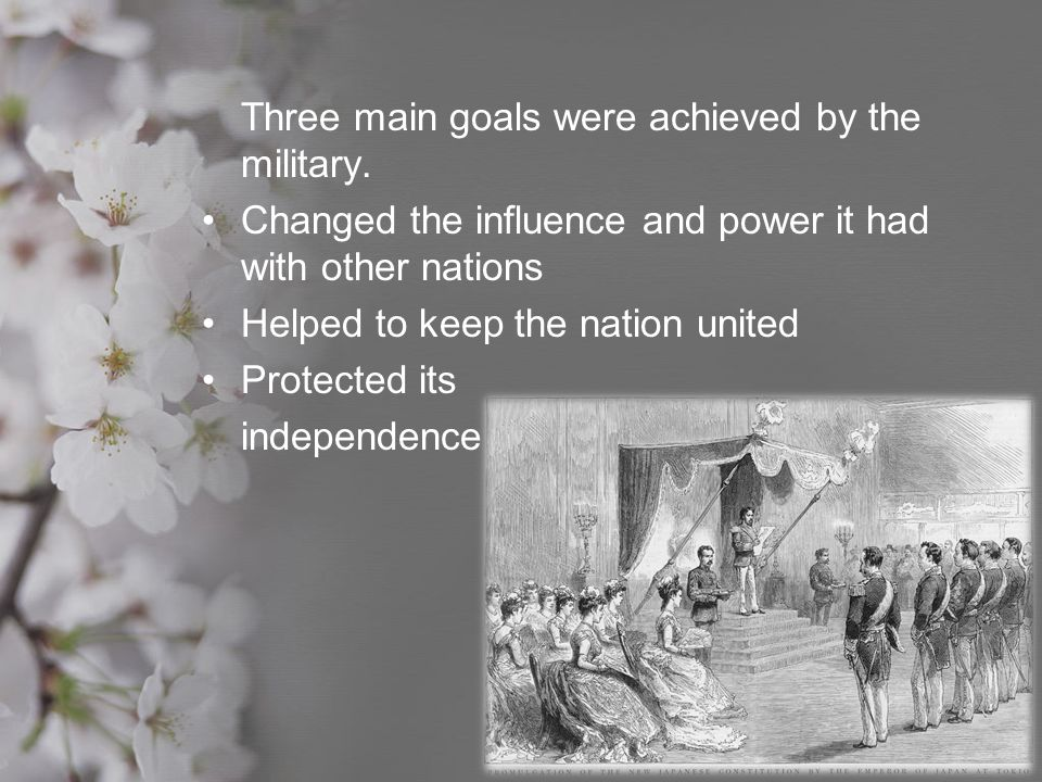 Three main goals were achieved by the military.