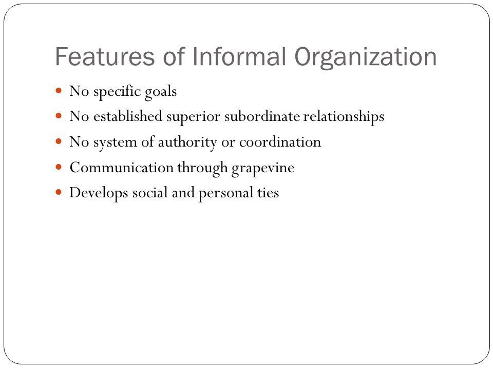 Features of Informal Organization