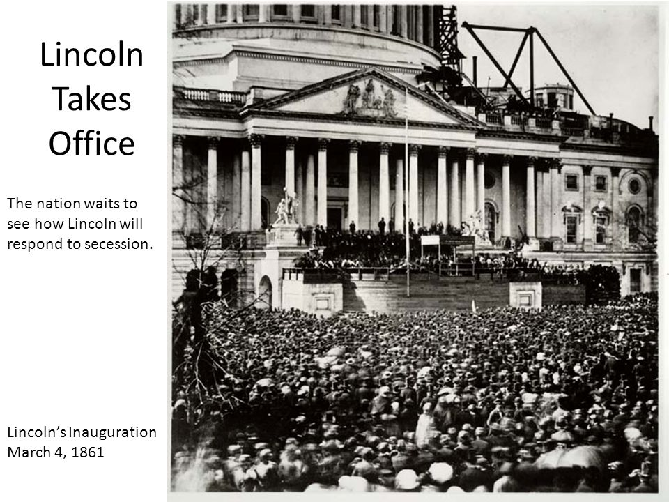Lincoln Takes Office The nation waits to see how Lincoln will respond to secession. Lincoln's Inauguration.