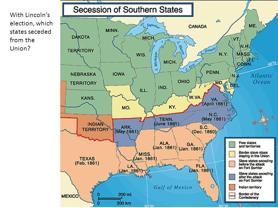 With Lincoln's election, which states seceded from the Union