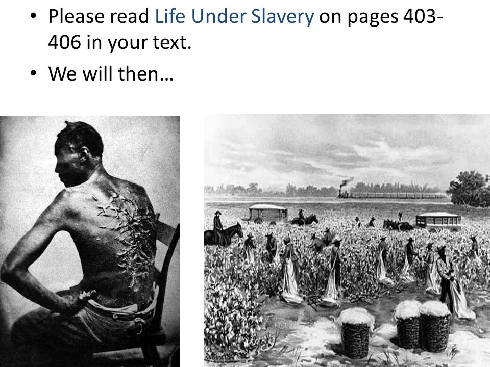 Please read Life Under Slavery on pages 403-406 in your text.