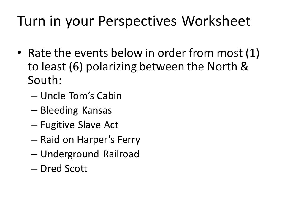 Turn in your Perspectives Worksheet