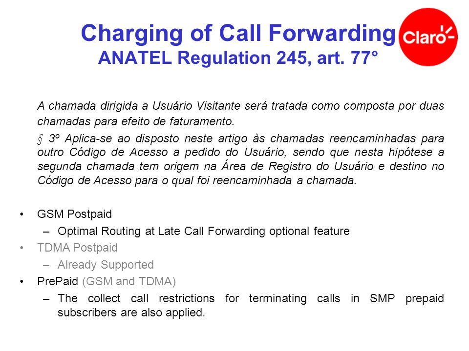 Charging of Call Forwarding ANATEL Regulation 245, art. 77°