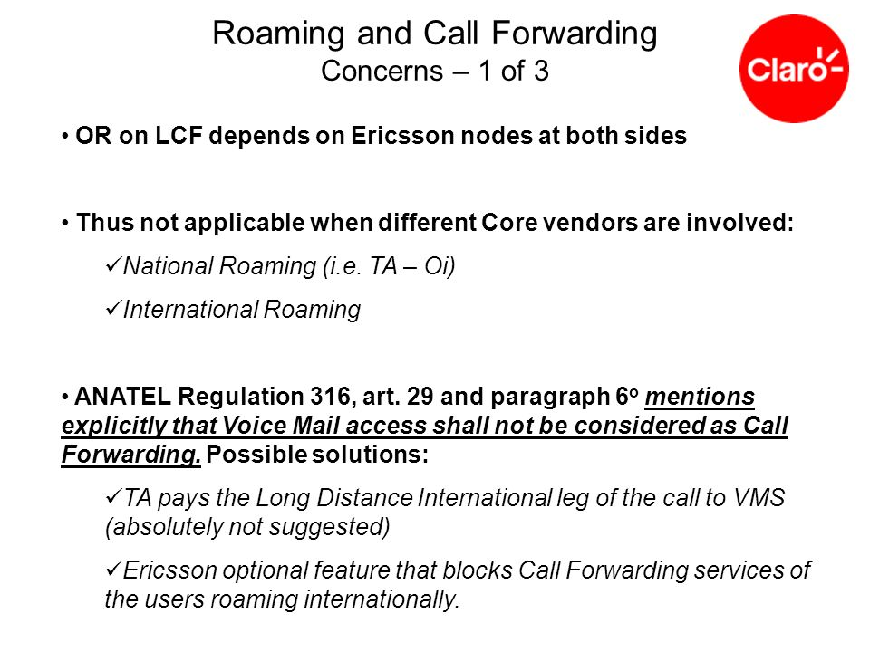 Roaming and Call Forwarding Concerns – 1 of 3