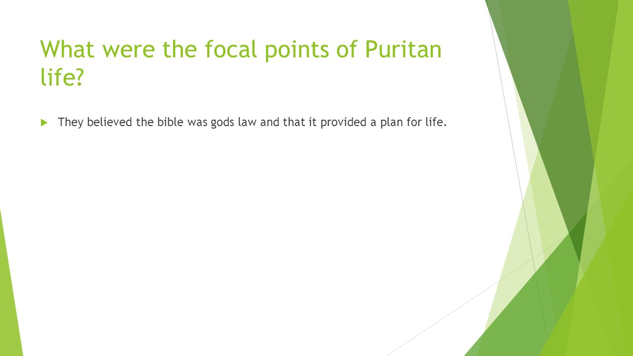 What were the focal points of Puritan life