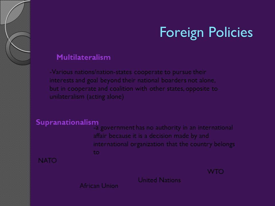 Foreign Policies Multilateralism Supranationalism