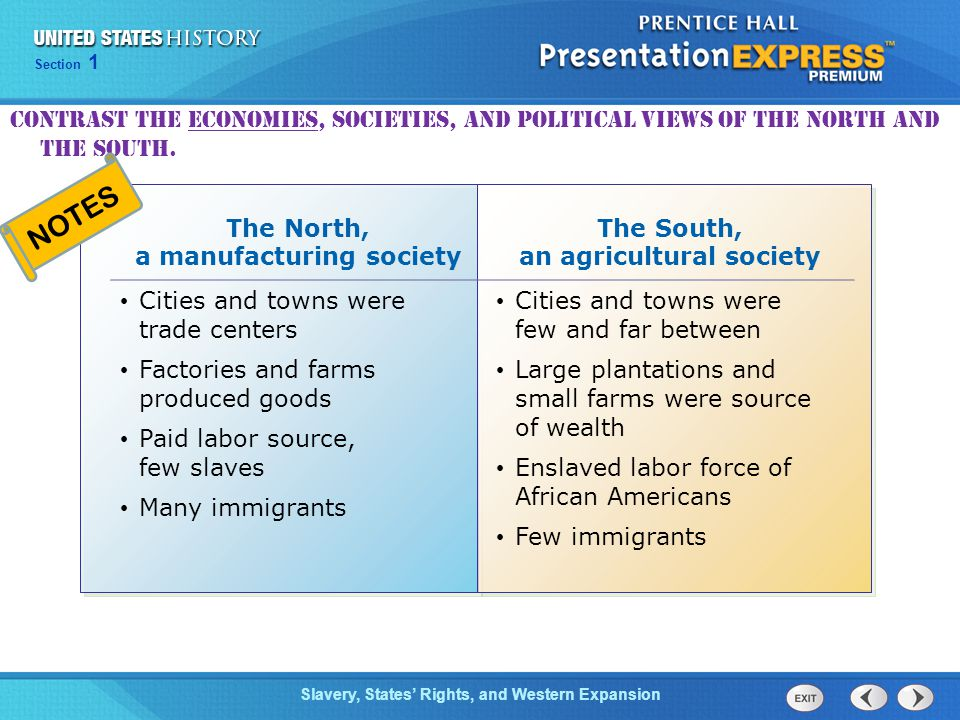 The North, a manufacturing society The South, an agricultural society
