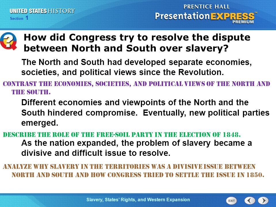 How did Congress try to resolve the dispute between North and South over slavery