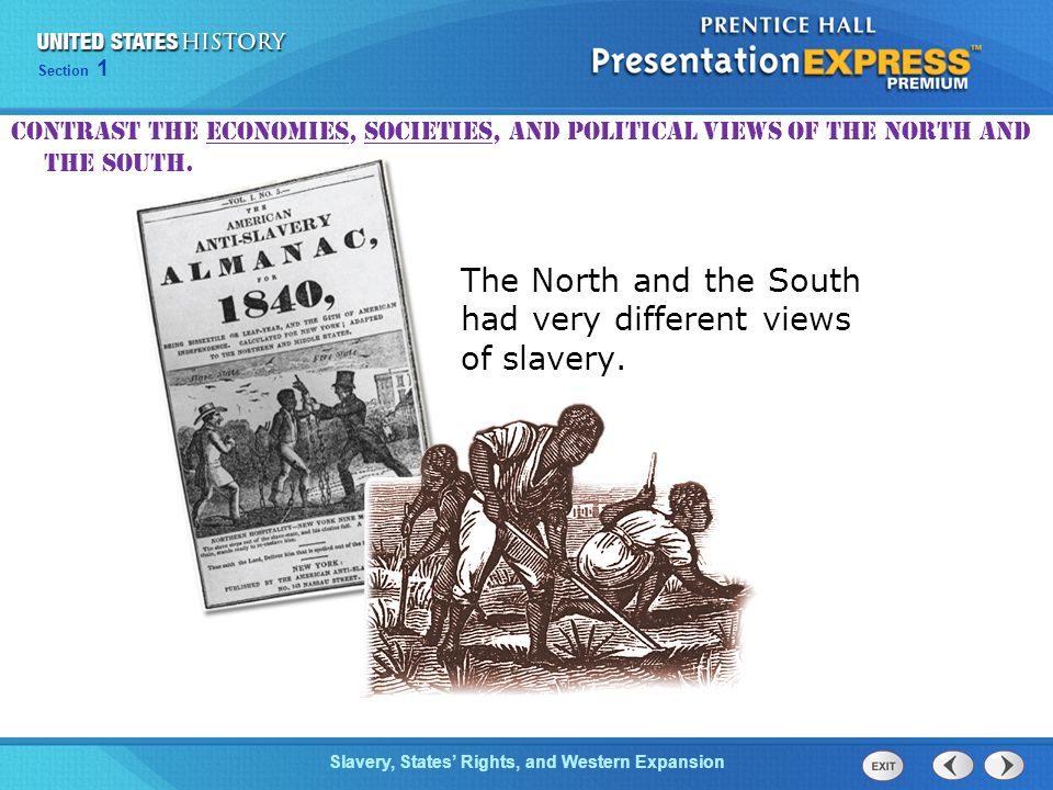 The North and the South had very different views of slavery.