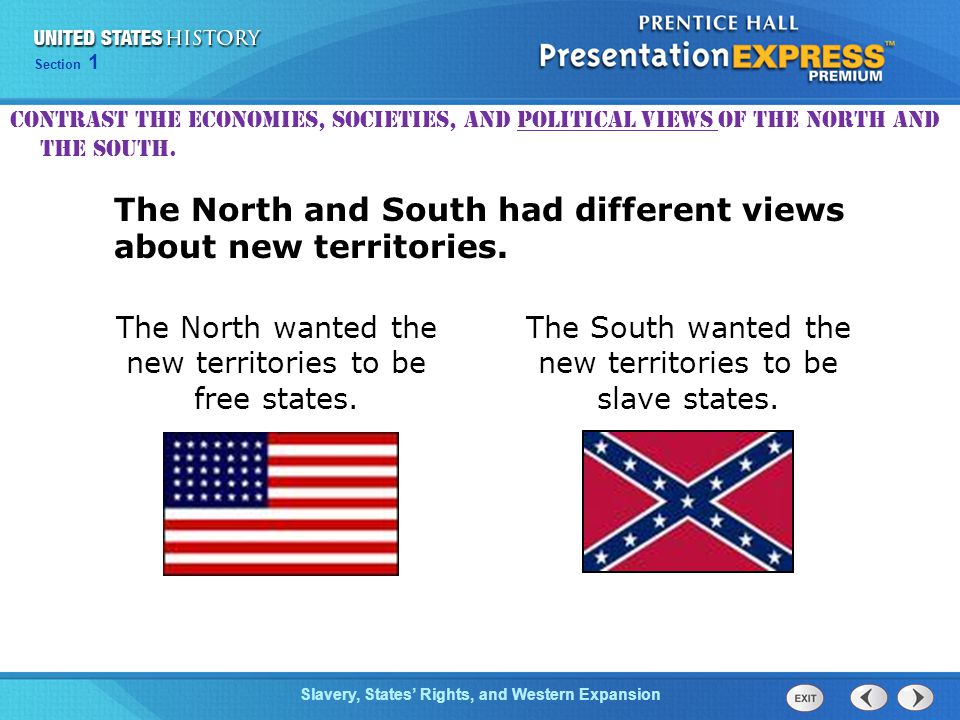 The North and South had different views about new territories.