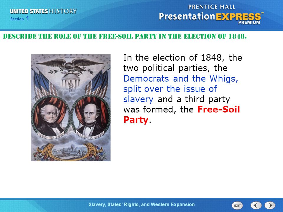 Describe the role of the Free-Soil Party in the election of 1848.