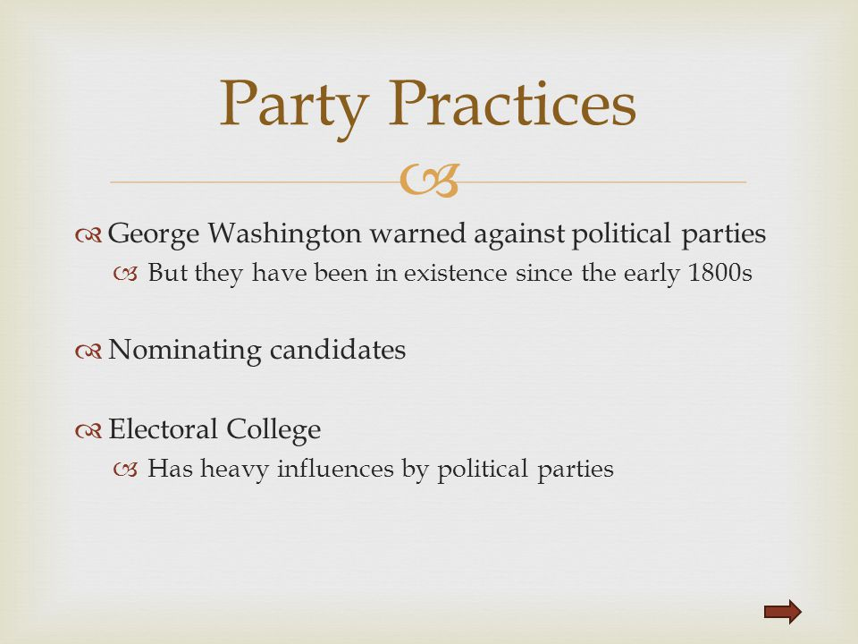 Party Practices George Washington warned against political parties