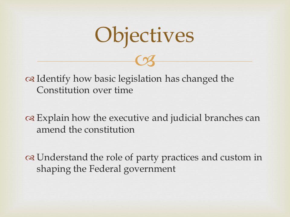 Objectives Identify how basic legislation has changed the Constitution over time.
