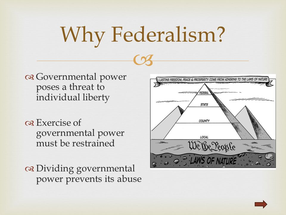 Why Federalism Governmental power poses a threat to individual liberty. Exercise of governmental power must be restrained.